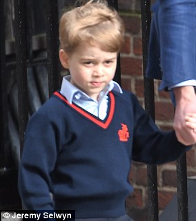 Prince George goes to meet his new baby brother at hospital in London on April 27