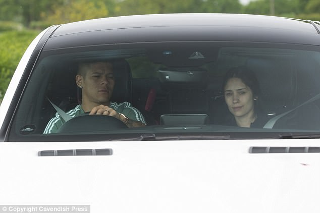 Fellow defender Marcos Rojo also brought his wife to work as Eugenia Lusardo joined him