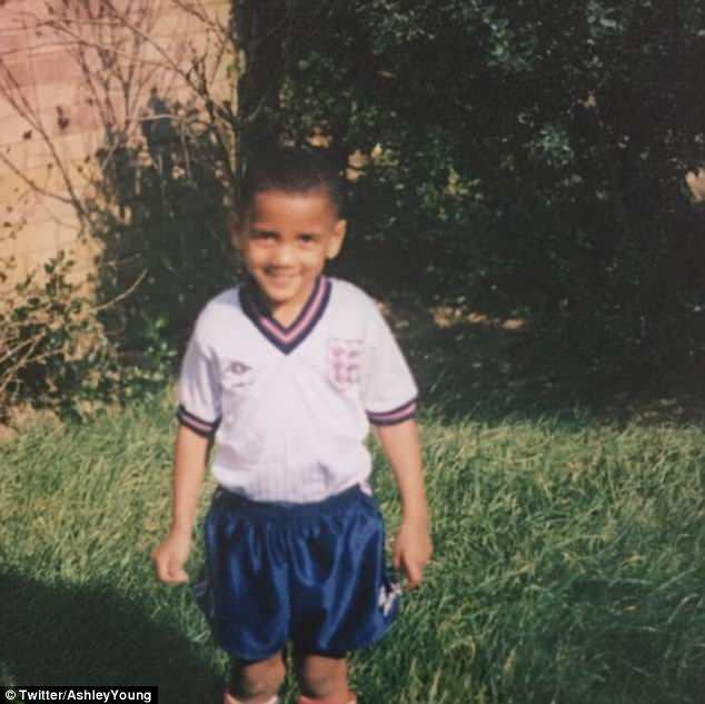 Defender Ashley Young Tweeted a picture of his younger self wearing an England kit