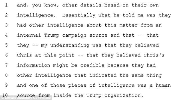 Simpson's testimony transcript includes this section where he described his conversation with his contractor Christopher Steele about his interactions with the FBI