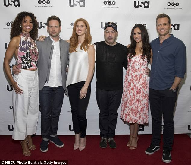 Squad: She also appeared on the show alongside (L-R) Gina Torres, Patrick J. Adams and Sarah Rafferty. Their attendance at the wedding has yet to be confirmed