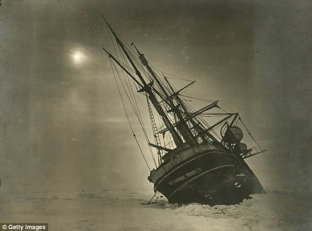 The 'Endurance' leaning to one side during the Imperial Trans-Antarctic Expedition, 1914-17