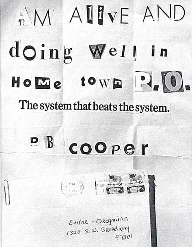 Investigator Tom Colbert revealed that his code-breaker had uncovered the new hidden messages in four other taunting notes sent by Cooper in the late 1970s, including the one above