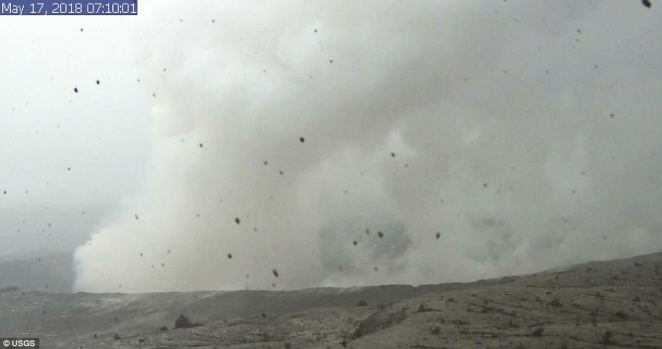 This image is from a research camera mounted in the observation tower at the Hawaiian Volcano Observatory and shows the plume of smoke coming out of the crater