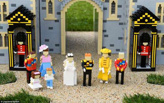 Family: Included in the Lego nuptials are Prince William, Kate Middleton, Princess Charlotte, Prince George, Queen Elizabeth II, and Prince Phillip