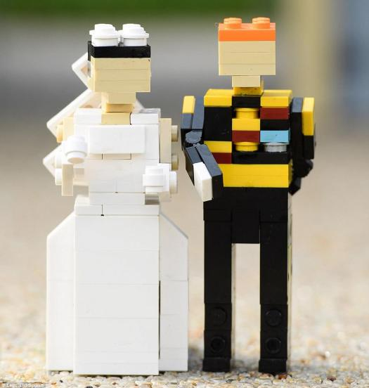 Lego-sized: Meghan Markle and Prince Harry got the Lego treatment for the scene and were displayed in their wedding outfits