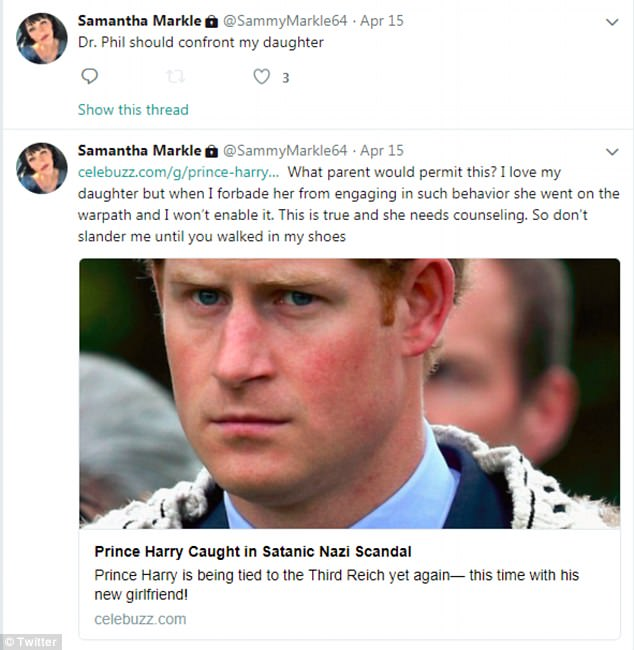 Fake news: Samantha Markle has also spread fake news about her sister's husband to be - in the course of trollig her own daughter