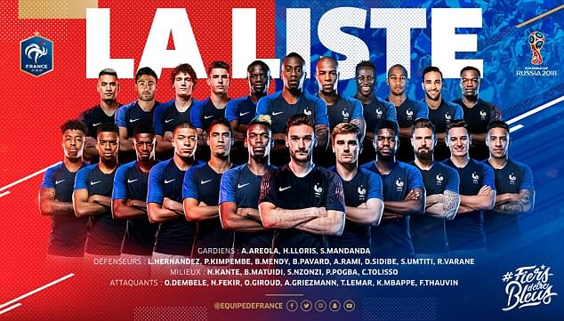 The France squad for the World Cup was confirmed on Twitter after the live TV announcement