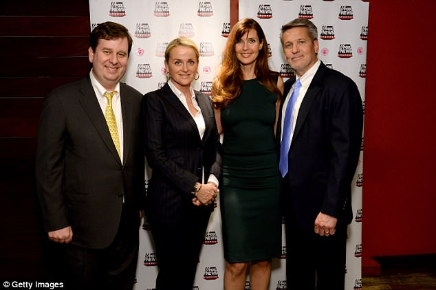 Fox News names Suzanne Scott as its first female CEO (pictured left to right: John Finley of Fox News, Fox News Suzanne Scott, model Carol Alt and Bill Shine of Fox News)