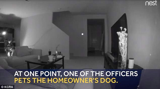 The guy said one officer went into his kitchen and petted his dog before leaving the house. The police department said it was investigating the incident