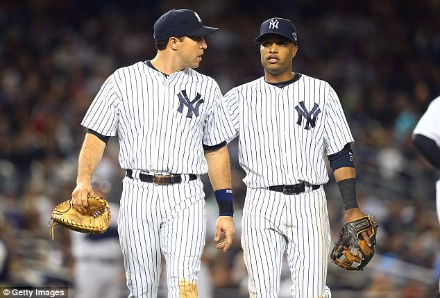 Retired slugger Mark Teixeira said Thursday that he was 'not surprised' to see former teammate Robinson Cano suspended 80 games for violating MLB's joint drug agreement. Teixeira (left) and Cano (right) are seen during their time with the New York Yankees in 2012