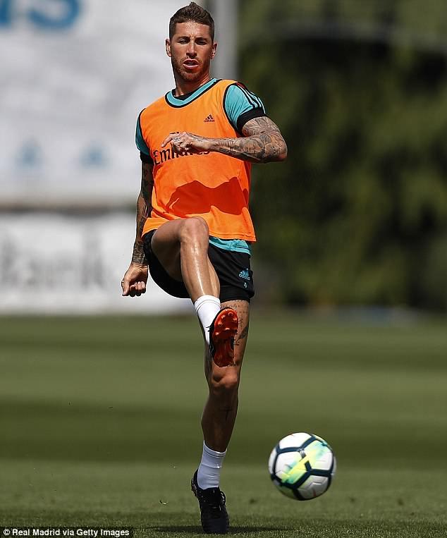 Sergio Ramos trained on Friday after announcing the release of his debut music single