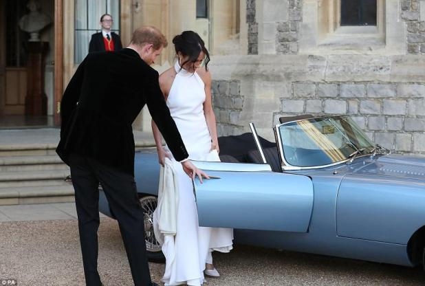 Meghan looked stunning in an evening dress designed by Stella McCartney with a high neck gown
