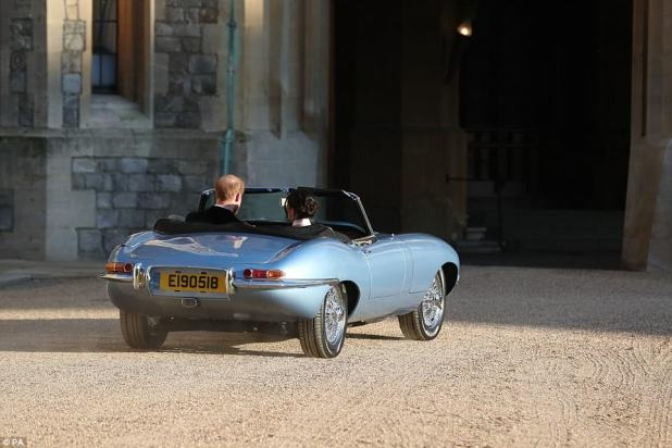 Harry and Meghan travelled in a Jaguar converted to electric power, which had a numberplate with today's date
