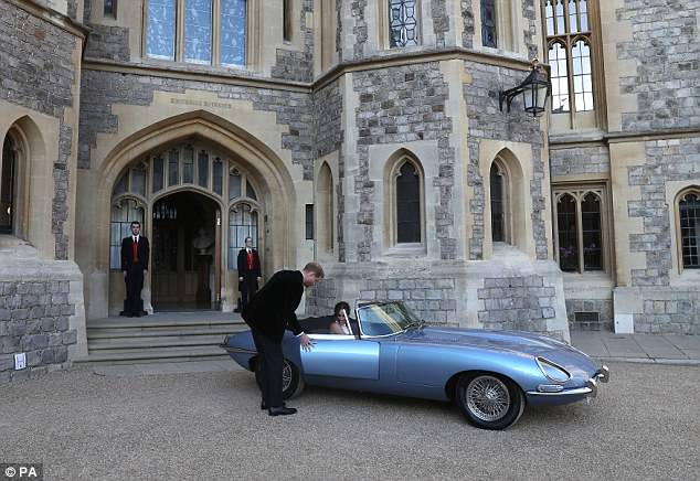 The royal couple sped off towards Frogmore House, as around 200 guests are due to join the couple at the evening event and where Meghan is set to make a speech to guests