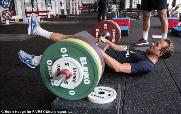 Harry Kane engaged in some weight training as England began World Cup preparations