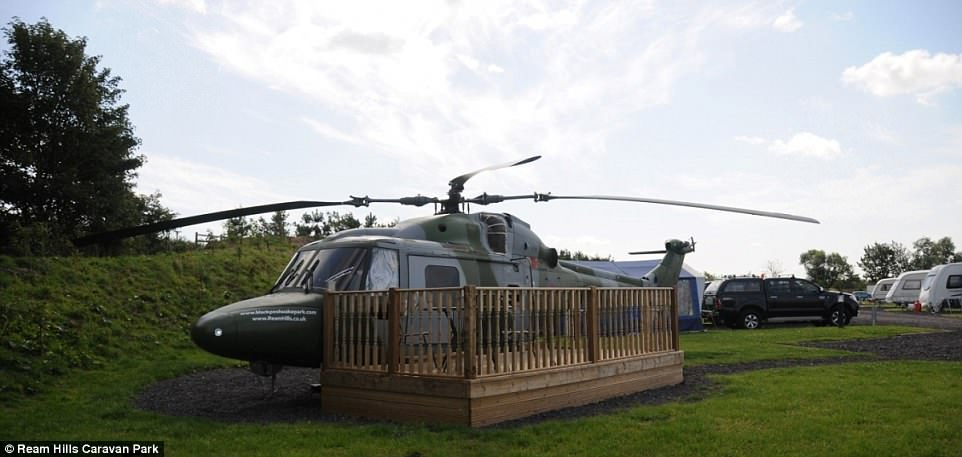 At Ream Hills Caravan Park in Lancashire a 1982 Westland Lynx XZ676 helicopter has been transformed into overnight accommodation