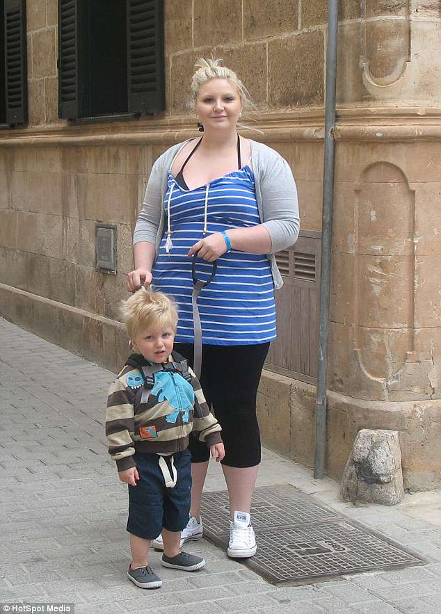 Aged 17, Jenna fell pregnant with her son, Oliver (pictured), now eight, and as she juggled being a single mum, her weight ballooned