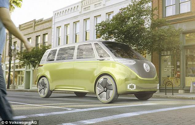 Apple has partnered with German car manufacturer Volkswagen to bring its dream of self-driving cars to life. The partnership will turn Volkswagen's T6 transporter vans (pictured) into autonomous shuttle buses for its employees