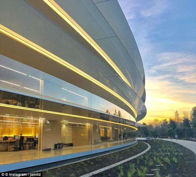 Apple staff will be able to hitch a ride around its many campuses, including Apple Park in California (pictured) which was opened earlier this year and cost $5 billion (£3.5 billion)