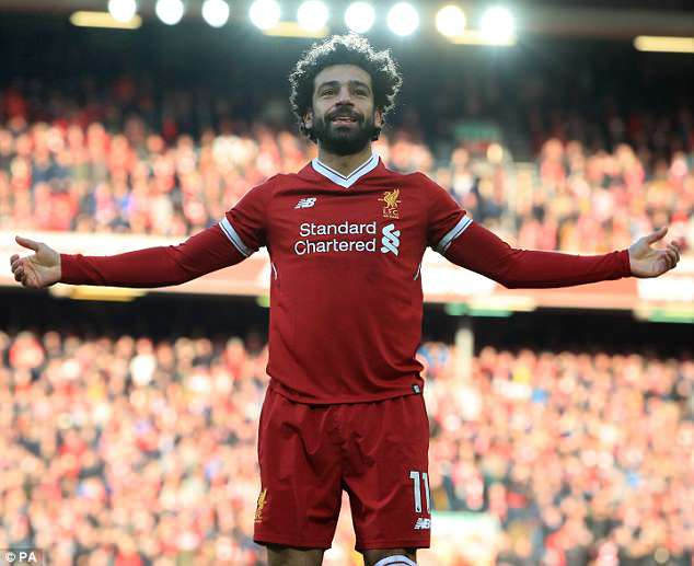 Liverpool's Salah stands tall at Anfield after scoring one of his 44 goals this season