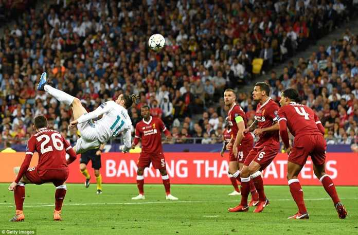 Bale scored an incredible bicycle kick from the edge of the penalty area to put Real Madrid 2-1 ahead against Liverpool