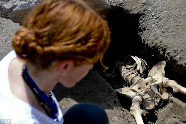 The skeleton was uncovered at a recently discovered area of the Pompeii archaeological site, near Naples