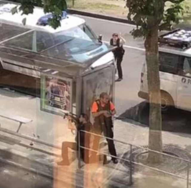Lockdown: Anti-terrorist special forces police could be seen surrounding the area within minutes of the shooting at 10.30am