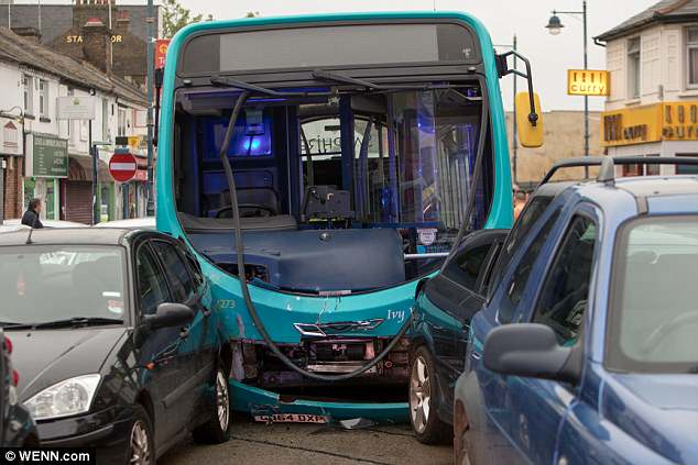 The 480 bus service to Gravesend crashed into at least 25 cars in Dartford town centre