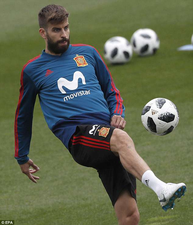 Barcelona defender Gerard Pique takes part in Spain team's training session on Wednesday