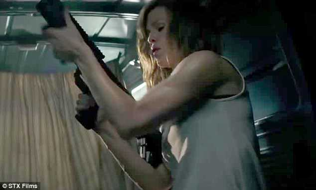 Intense: And the intense clip reminded fans of the actress' action star prowess as she transforms from doting mother to killing machine