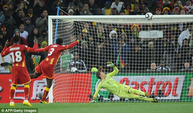 Asamoah Gyan missed the resulting spot-kick before Uruguay went on to win on penalties