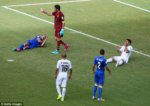 Suarez shockingly bit Italy defender Giorgio Chiellini during the 2014 World Cup group stages
