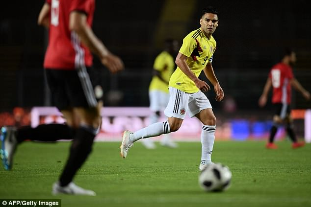 Radamel Falcao started up front in a strong Colombia line-up for a warm-up against Egypt
