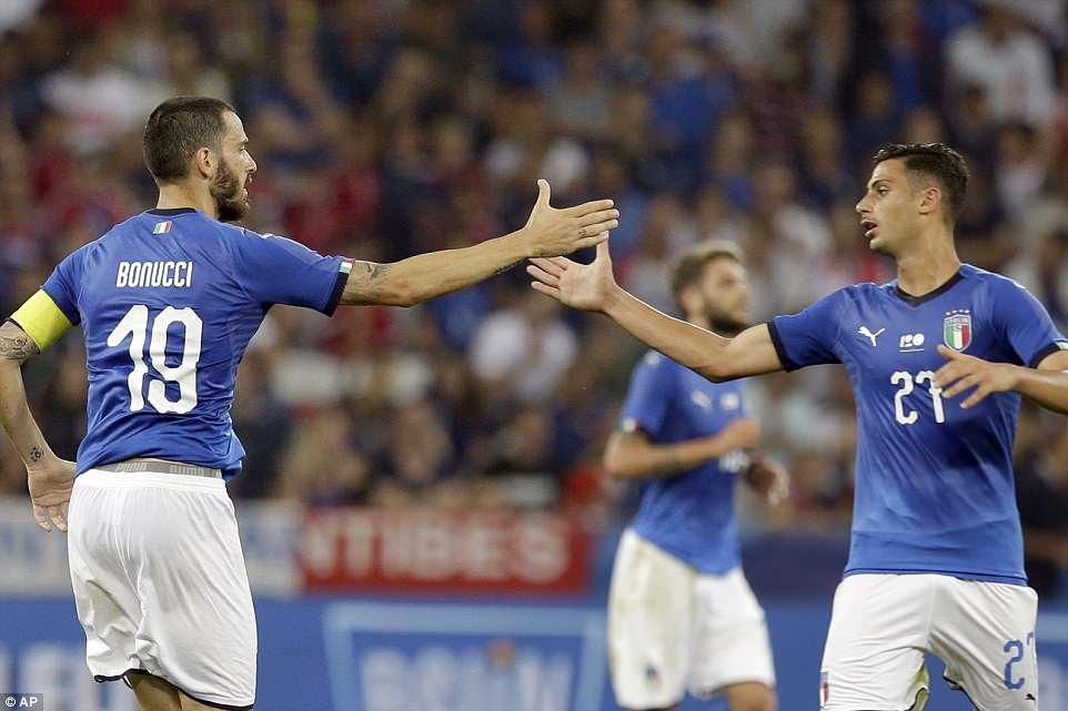 Bonucci celebrated his goal with Rolando Mandragora as Roberto Mancini's team got back into the match