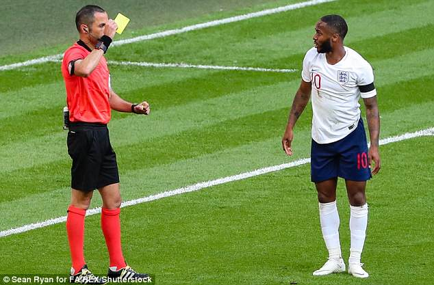Italian referee Marco Guida gave Sterling a yellow card early in the second half at Wembley