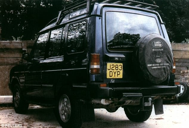 The Land Rover that Kenneth Noye was driving when he committed the M25 murder of Stephen Cameron in 1996, London. Noye was sentenced to life with a minimum 16-year term