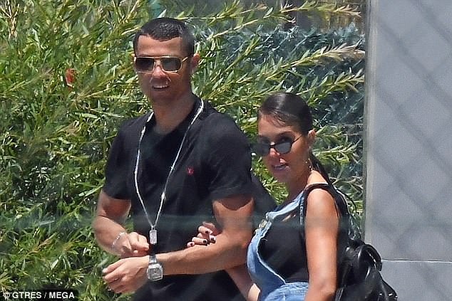 Cristiano Ronaldo was spotted about to board a private flight with his girlfriend in Malaga