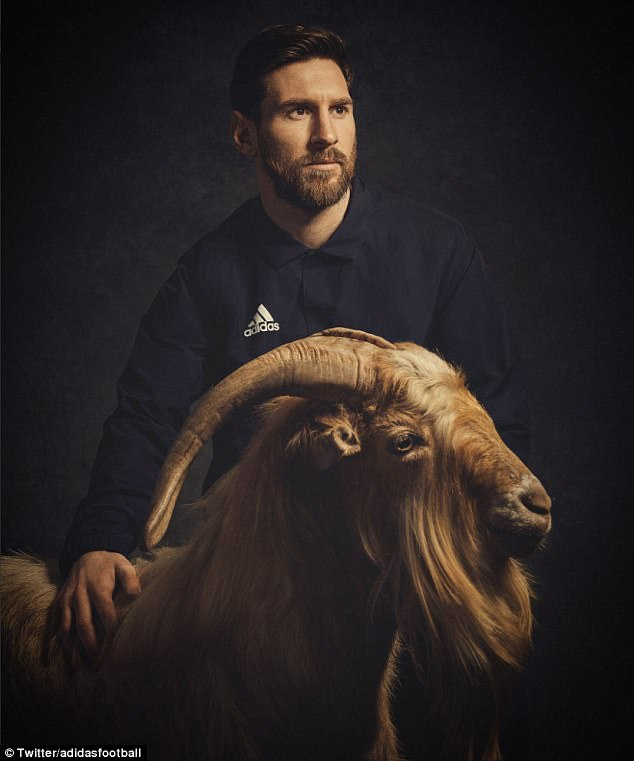 Argentina and Barcelona star Lionel Messi posed with goats in a pre-World Cup photo shoot