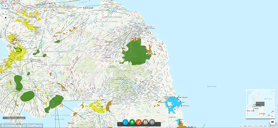 The landforms featured in the map were left behind when a vast ice sheet covered the UK during the last ice age, carving its way through the country and leaving geographical scars that are still present today. This image shows the sheer extent of ice coverage over northern England and southern areas of Scotland