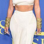 Kim Kardashian show off tight abs as she receives Fashion Influencer Award at the CDFA