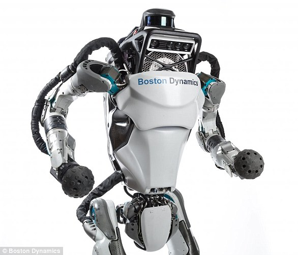 Atlas is able to hold its balance when it is jostled or pushed by an external force. Should it fall over, the humanoid robot is capable of getting up again on its own