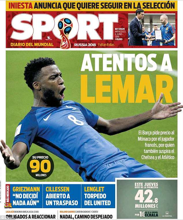 Spanish newspaper Sport claim Thomas Lemar is a £79m target for Barcelona this summer