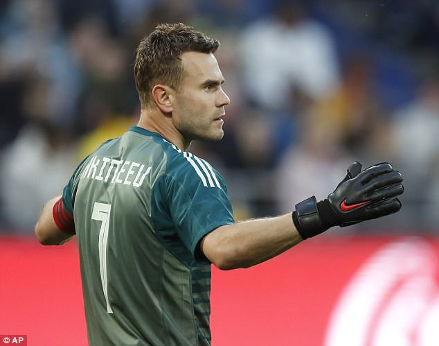 Russia goalkeeper Igor Akinfeev reacts after conceding in this week's 1-1 draw with Turkey