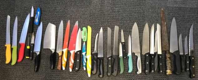 Some of the scores of terrifying blades recovered by officers in London in the past year