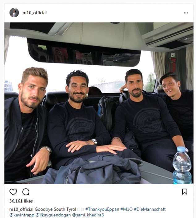 Mesut Ozil took to Instagram to say goodbye to South Tyrol as the German team left Italy