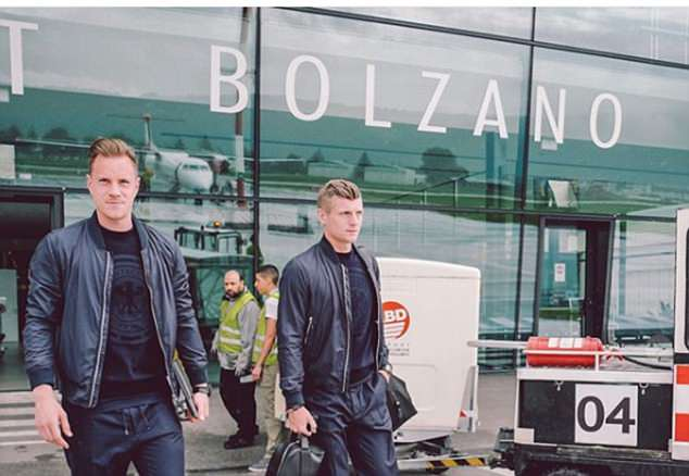 El Clasico rivals Marc-Andre Ter Stegan and Toni Kroos headed out to the aircraft together
