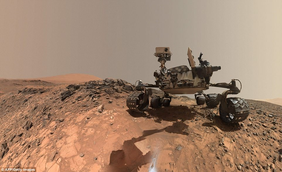 Above, the Curiosity Mars rover vehicle can be seen at the site from which it drilled into a rock target called 'Buckskin' on lower Mount Sharp, where it found new evidence preserved in rocks on Mars that suggests the planet could have supported ancient life, as well as new evidence in the Martian atmosphere that relates to the search for current life on the Red Planet
