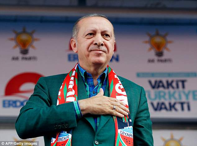 Last week Turkish President Recep Tayyip Erdogan (pictured)attacked Kurz, saying: 'This immoral chancellor has a problem with us'