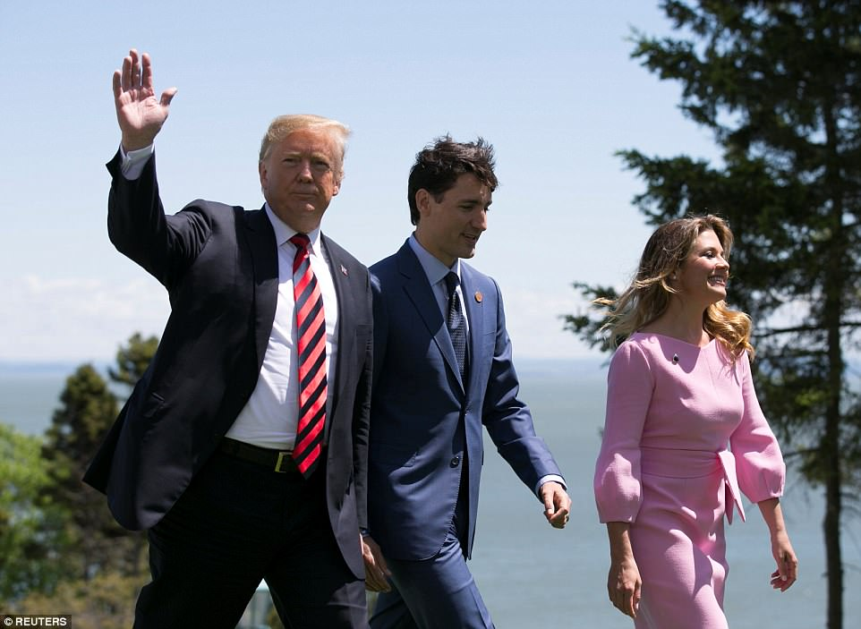 Traveling solo: Justin Trudeau was with his wife, Sophie Gregoire, as he greeted Trump, but the president said the First Lady has been told not to fly for four weeks